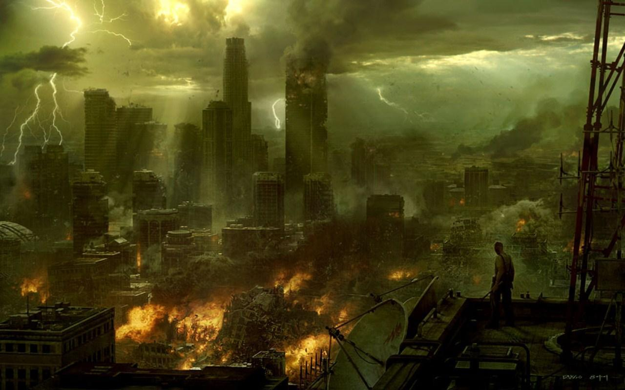 ruins cityscapes fire artwork HD Wallpaper