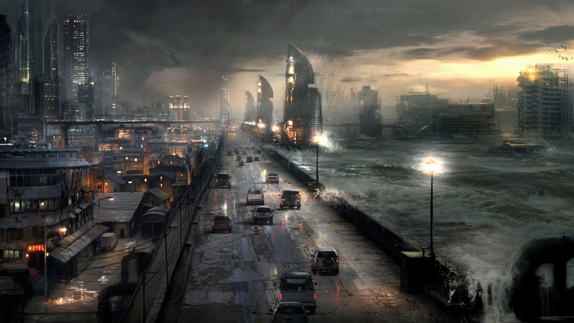 ruins cityscapes rain waves HD Wallpaper