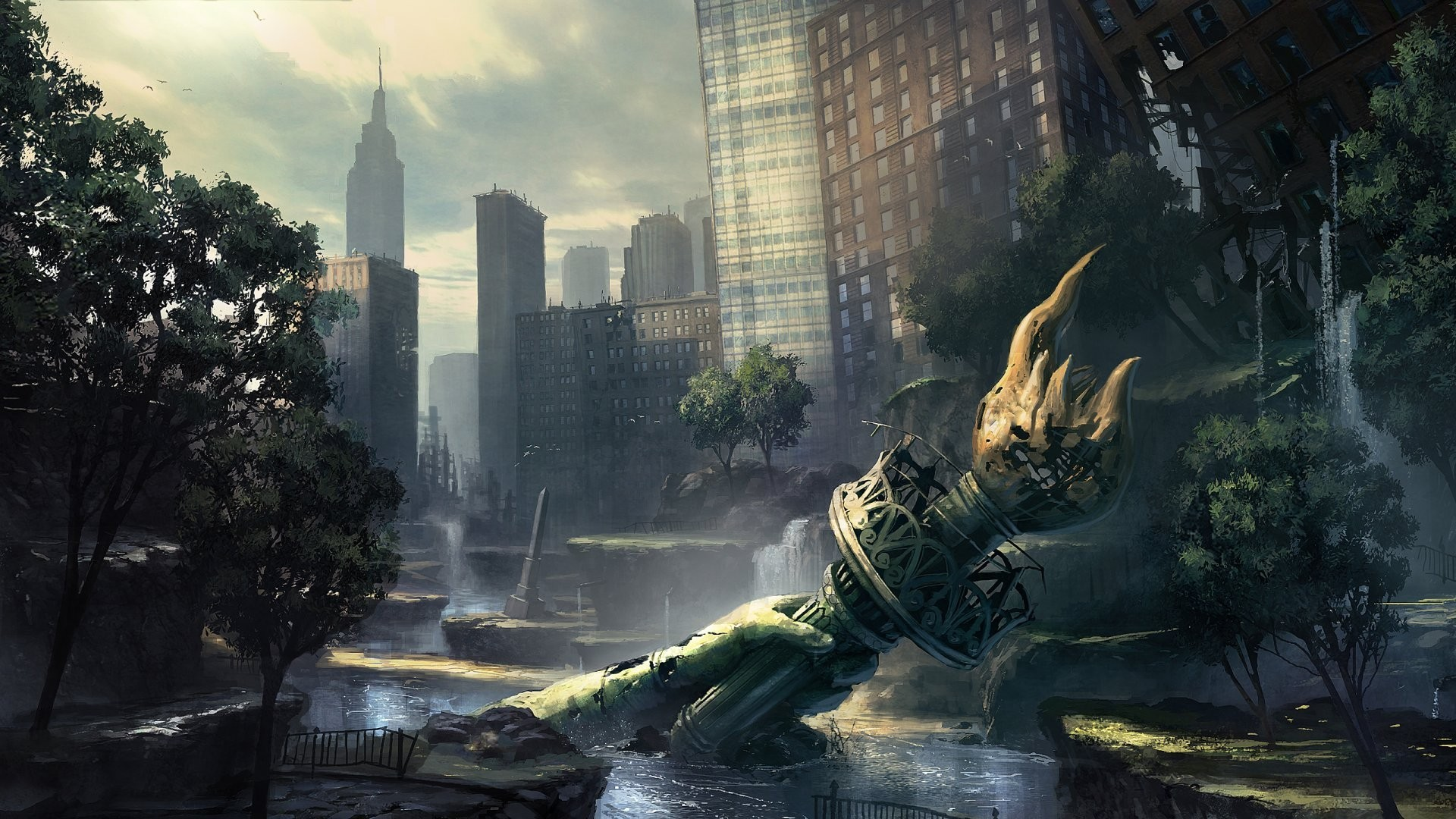 ruins post-apocalyptic new york HD Wallpaper