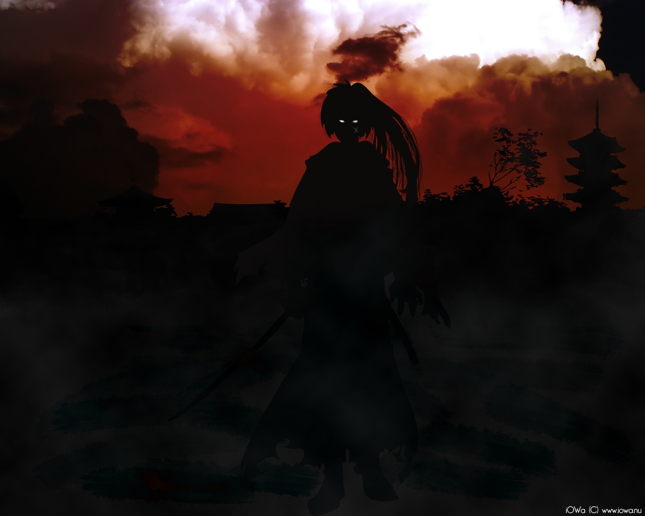 rurouni kenshin black dark HD Wallpaper