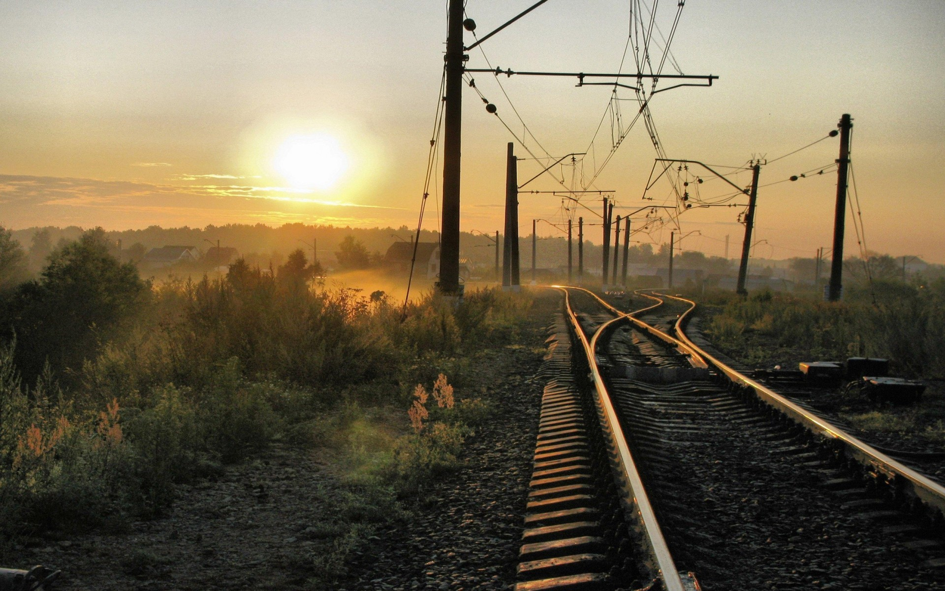 Russia trains railroad tracks HD Wallpaper