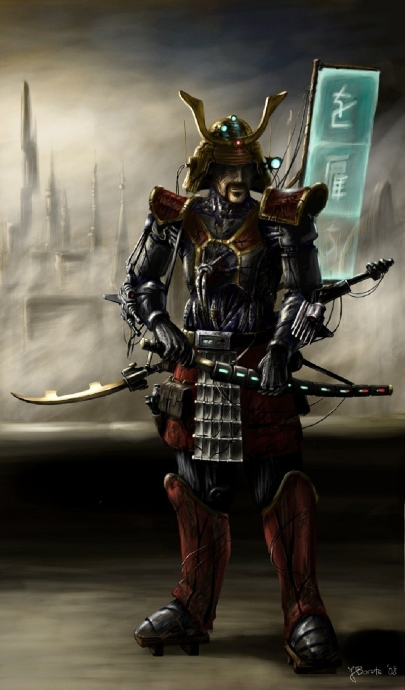 samurai weapons armor cyberpunk HD Wallpaper