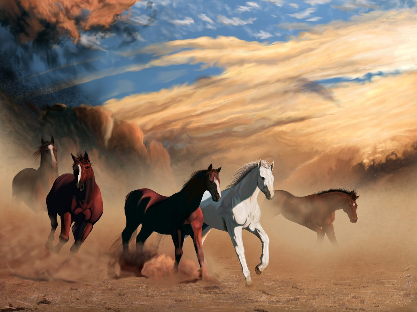 sand Animals Horses HD Wallpaper
