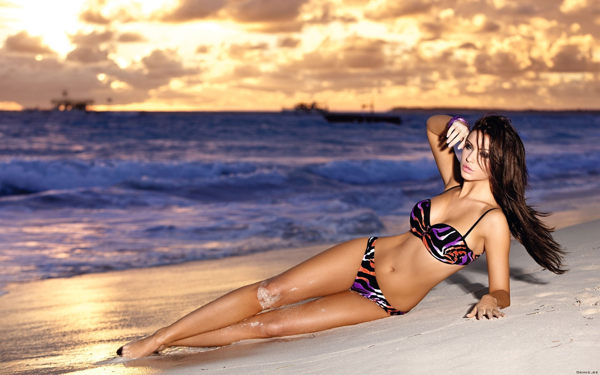 sand Sea woman Beaches brunettes bikini