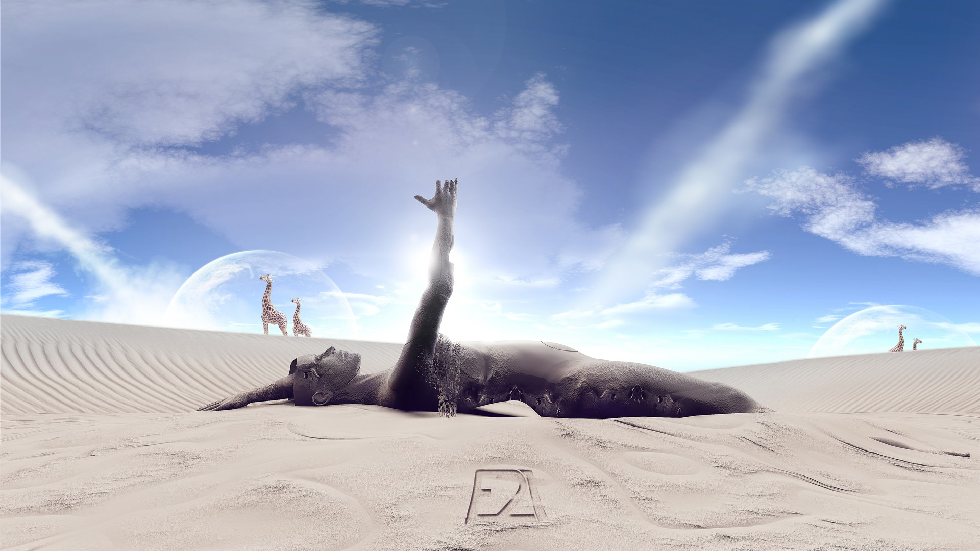 sand surreal statues strange HD Wallpaper