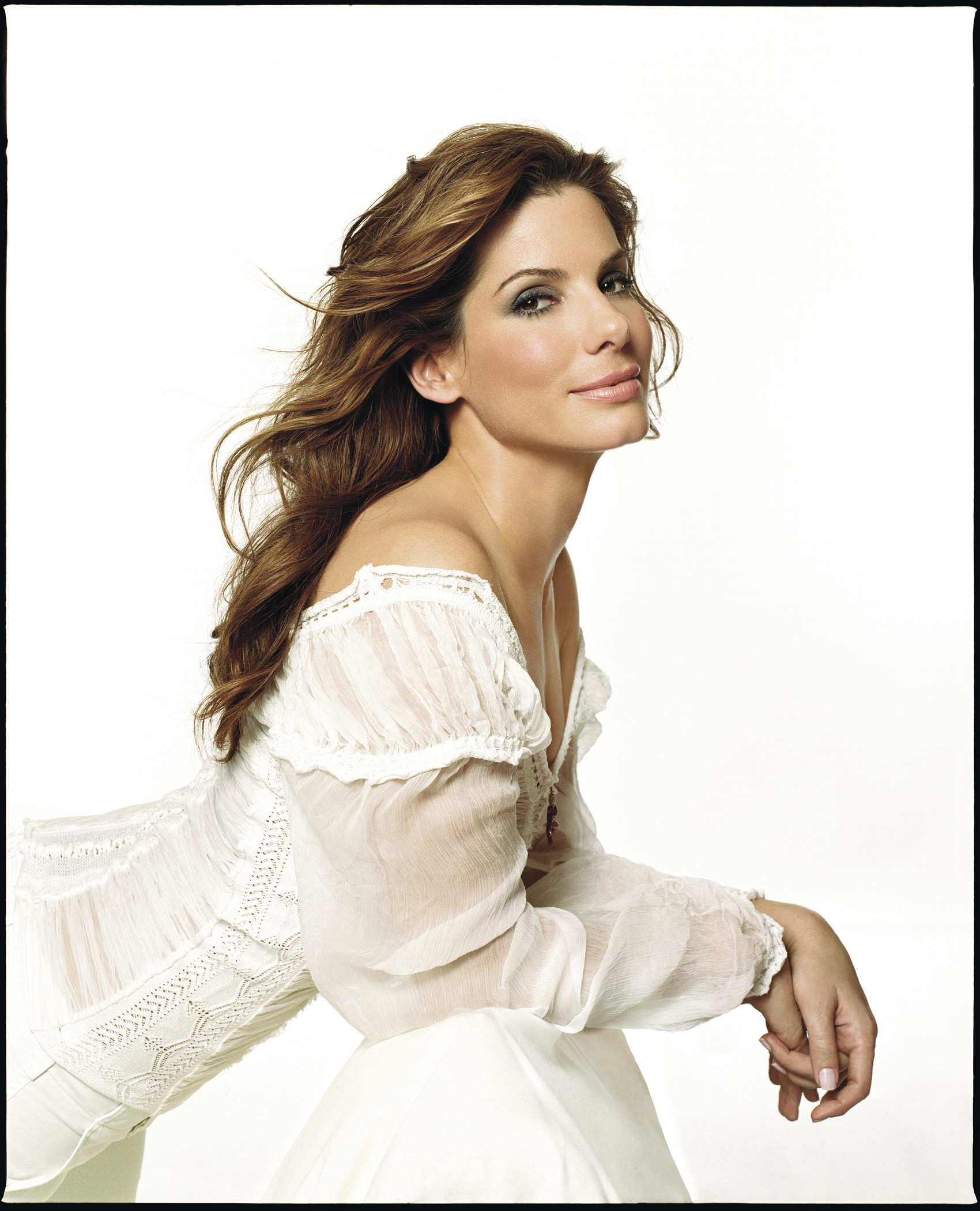 Sandra bullock white dress