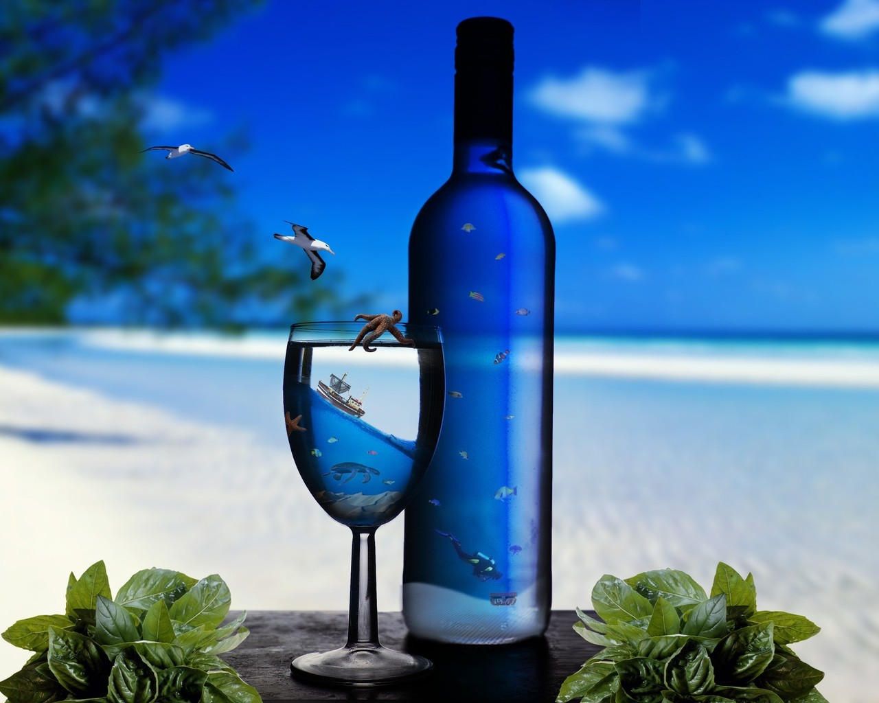 Sea blue bottles HD Wallpaper
