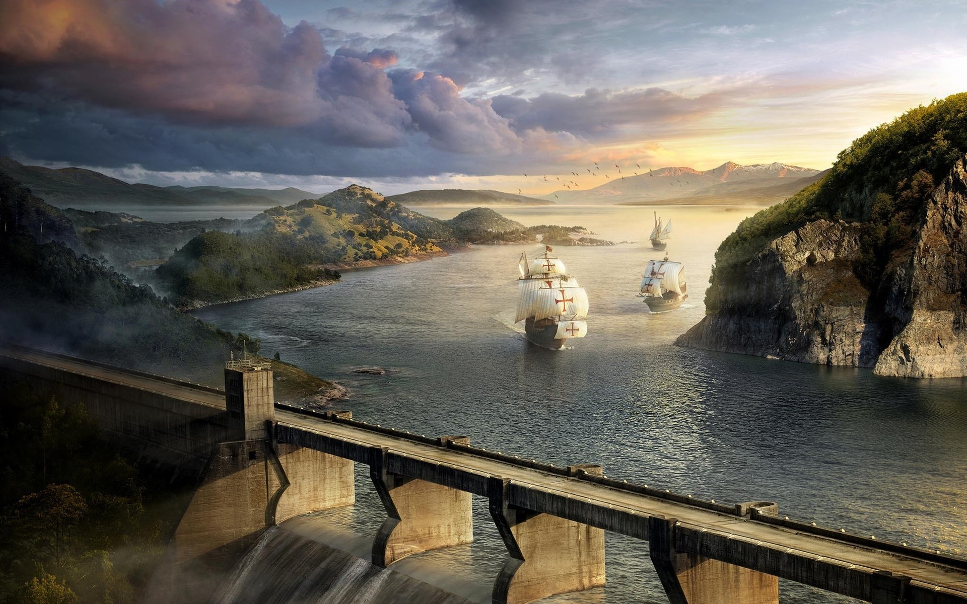 ships Bridges dam artwork HD Wallpaper