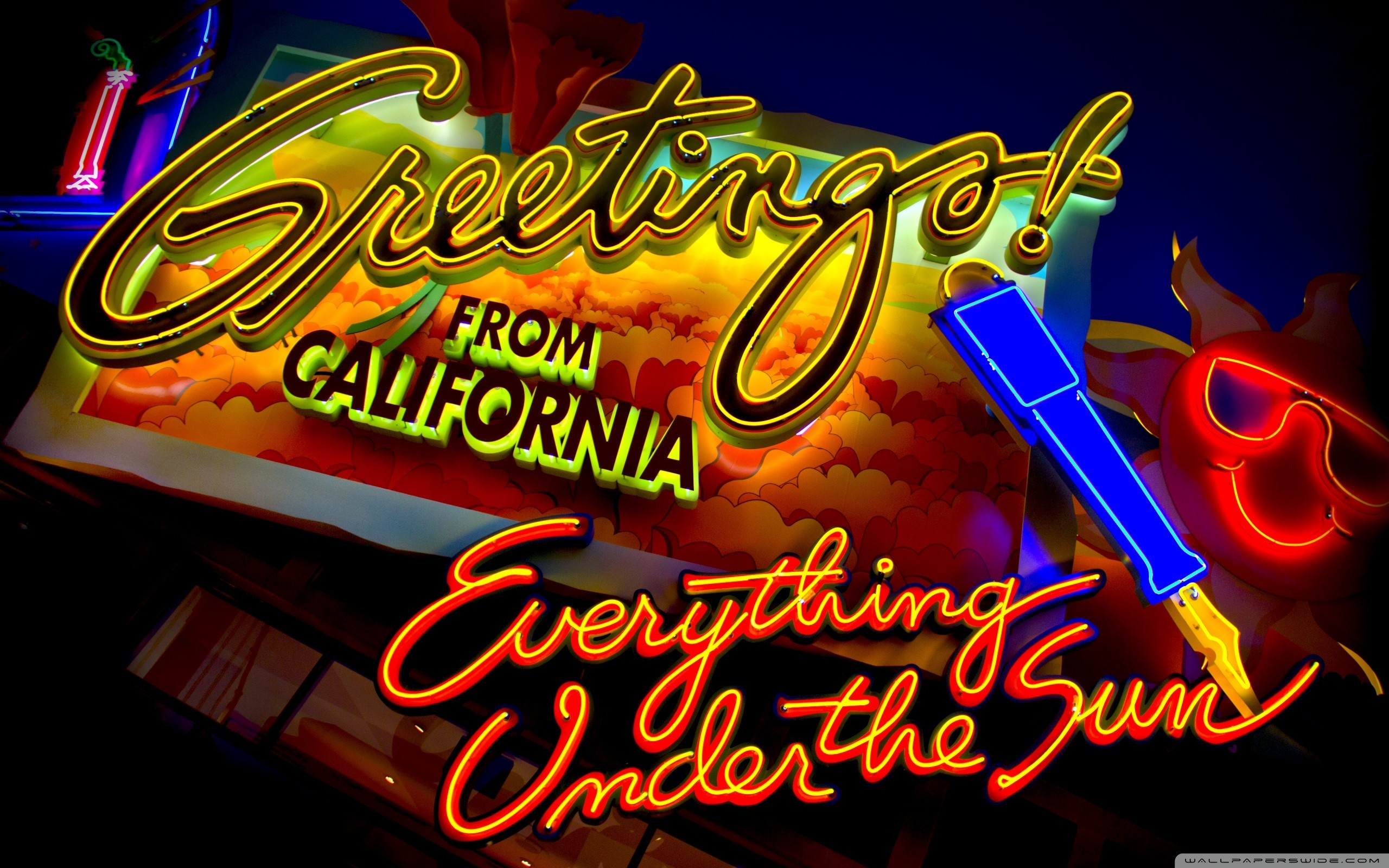 signs California glowing neon HD Wallpaper