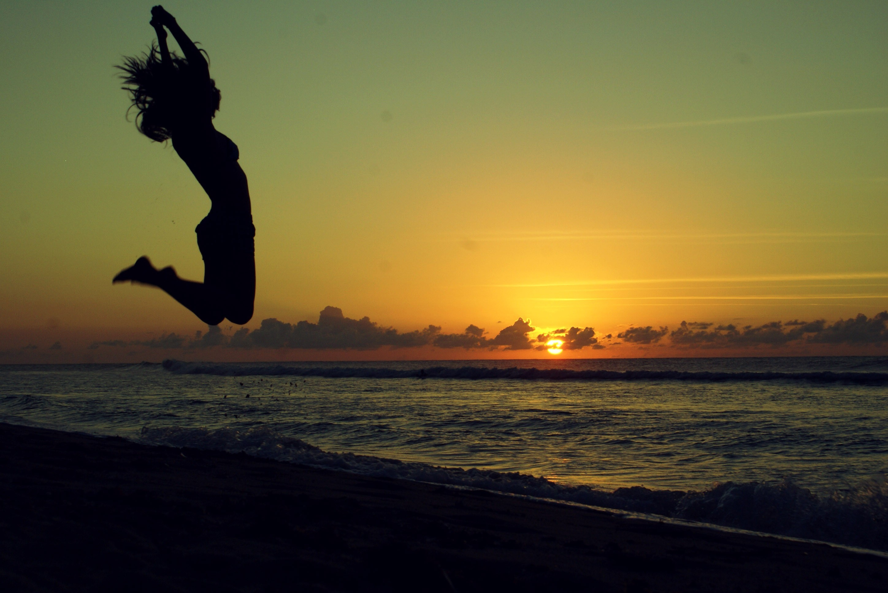silhouettes jumping arms raised HD Wallpaper