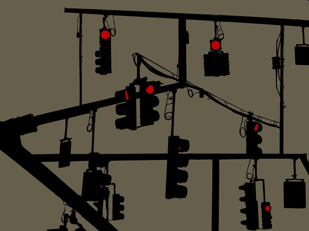 silhouettes traffic lights power
