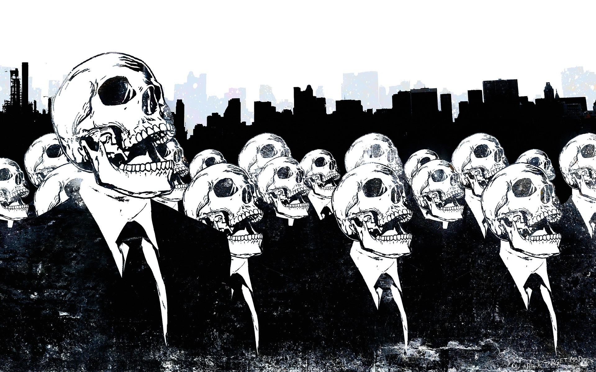 skulls Anonymous suit tie HD Wallpaper