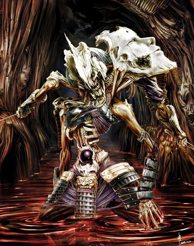 skulls blood samurai weapons HD Wallpaper
