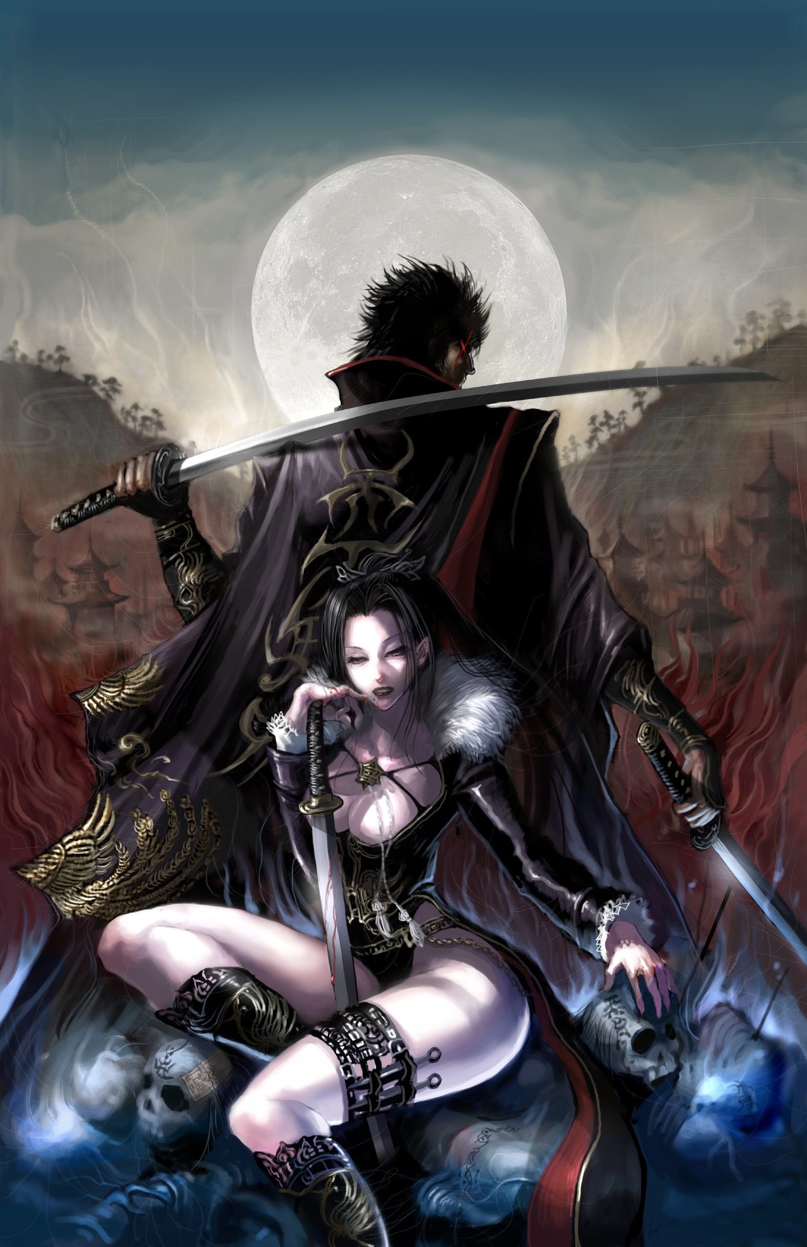 skulls comics Katana weapons HD Wallpaper