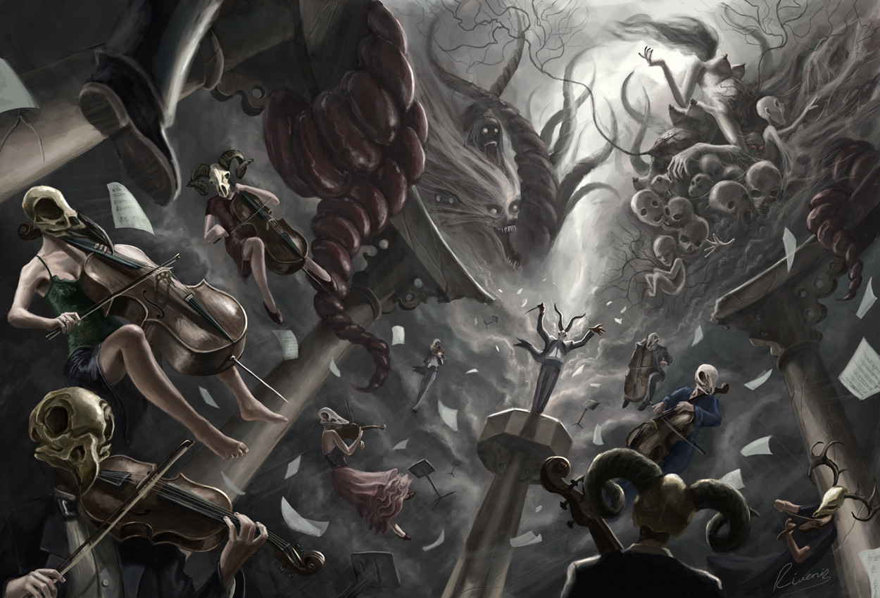 skulls Monsters creatures orchestra HD Wallpaper