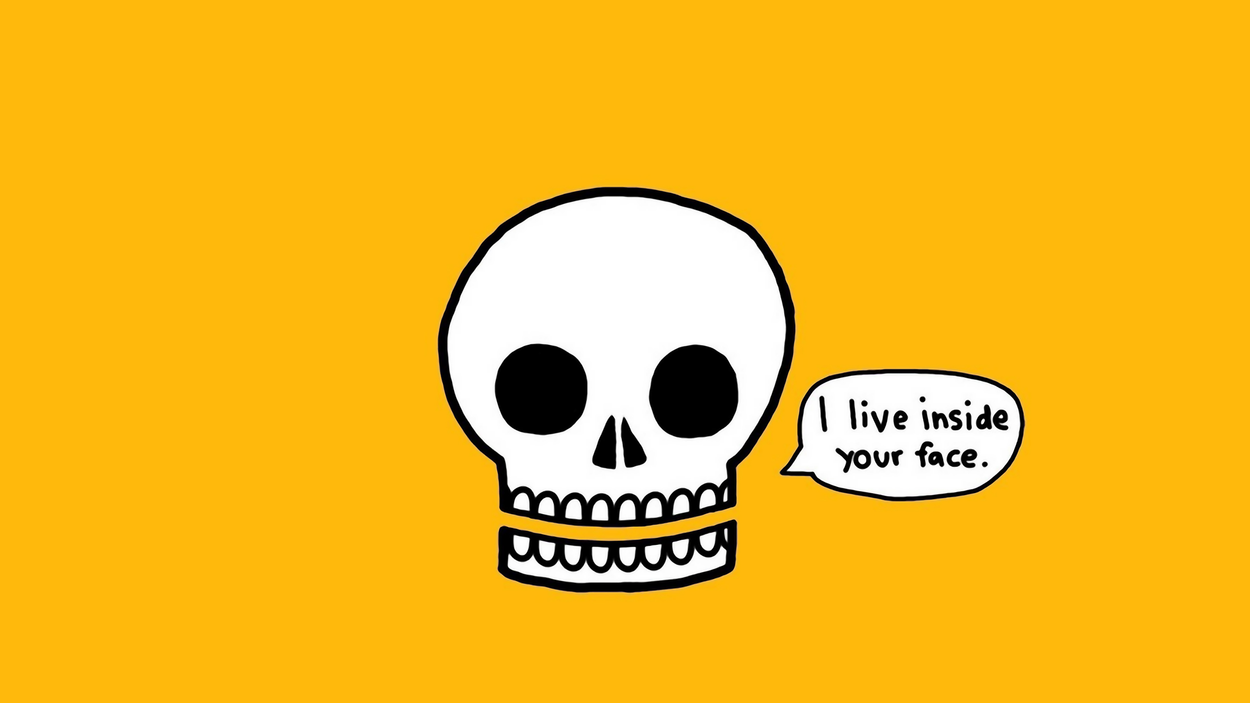 skulls yellow background HD Wallpaper