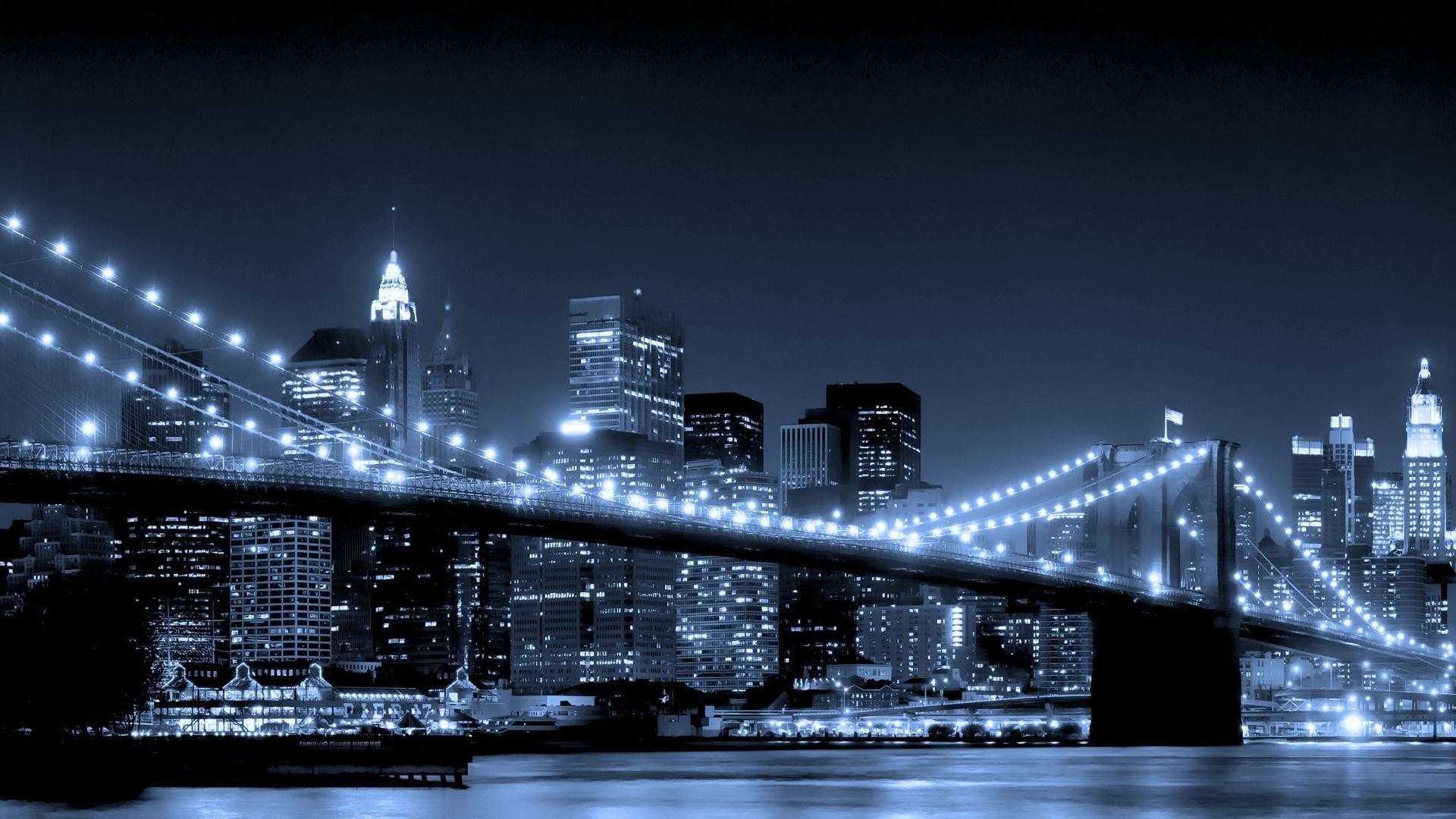 skylines lights Bridges nighttime HD Wallpaper