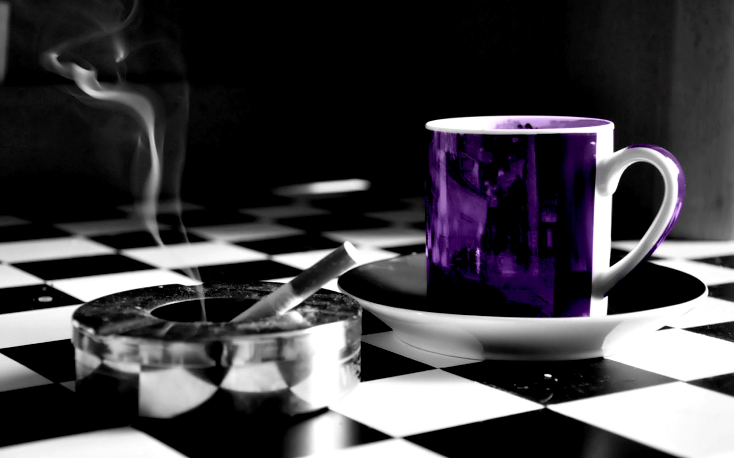 smoke cups selective coloring HD Wallpaper
