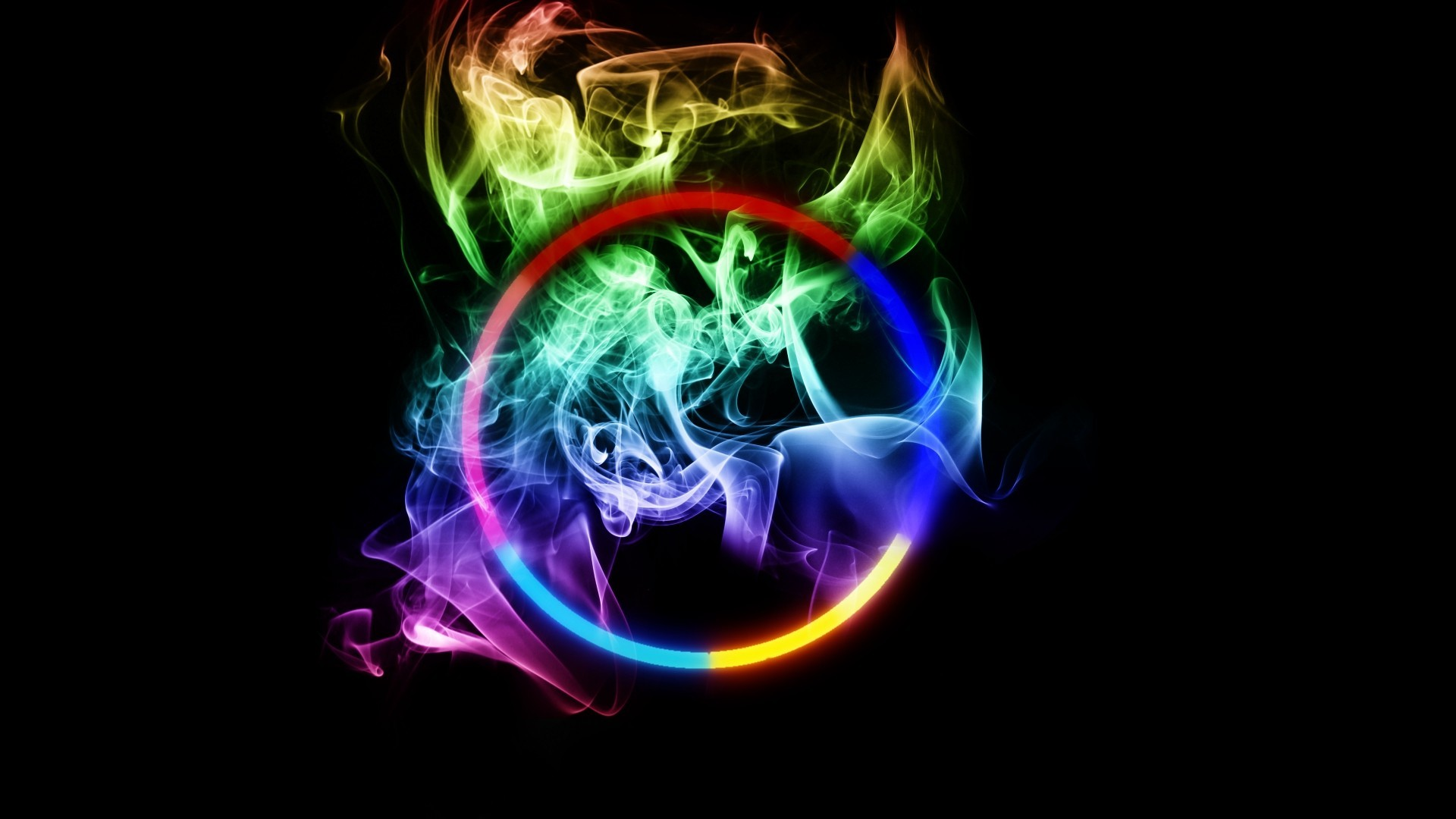 smoking abstract multicolor circles HD Wallpaper