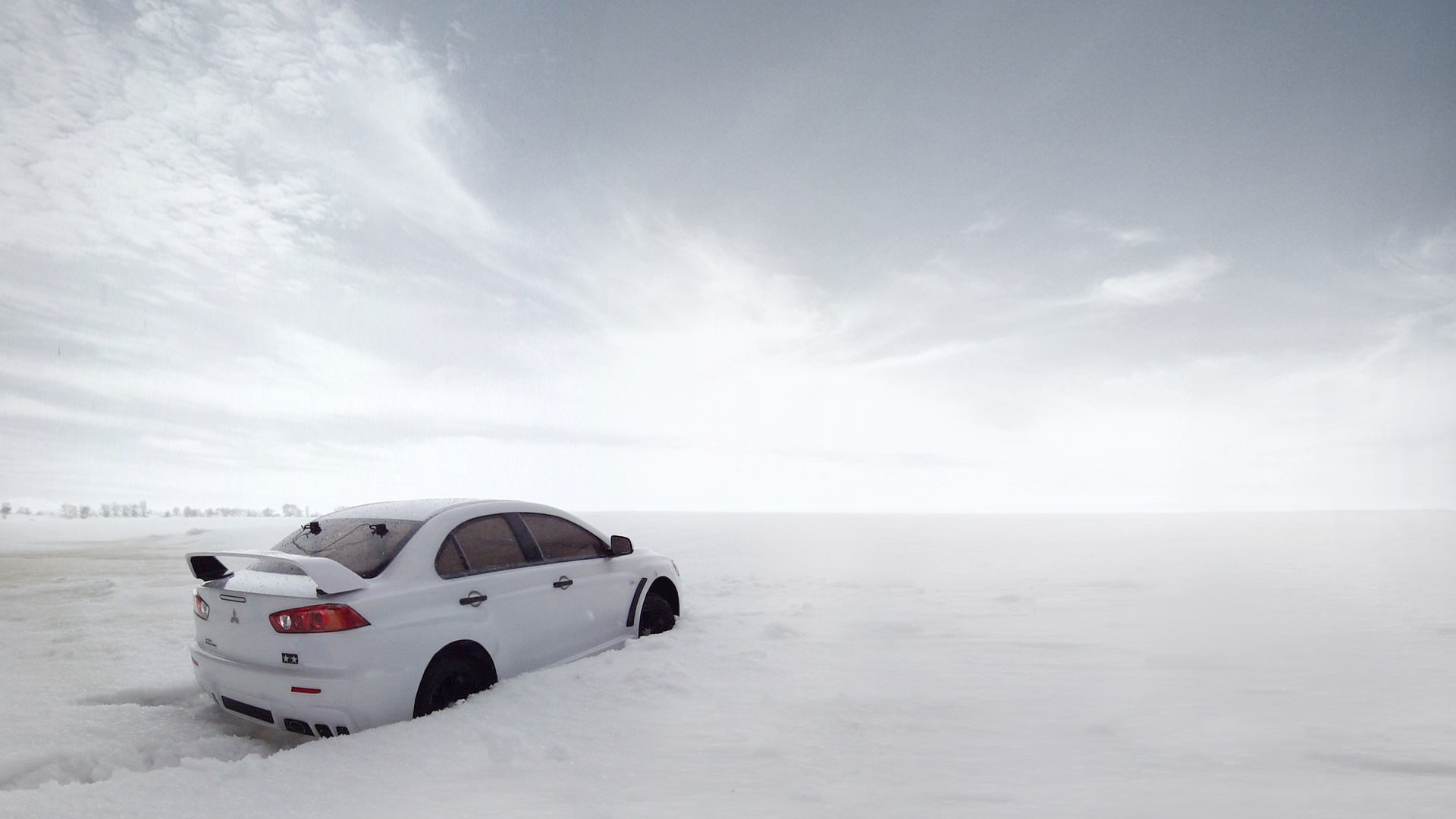 snow cars Evo X HD Wallpaper