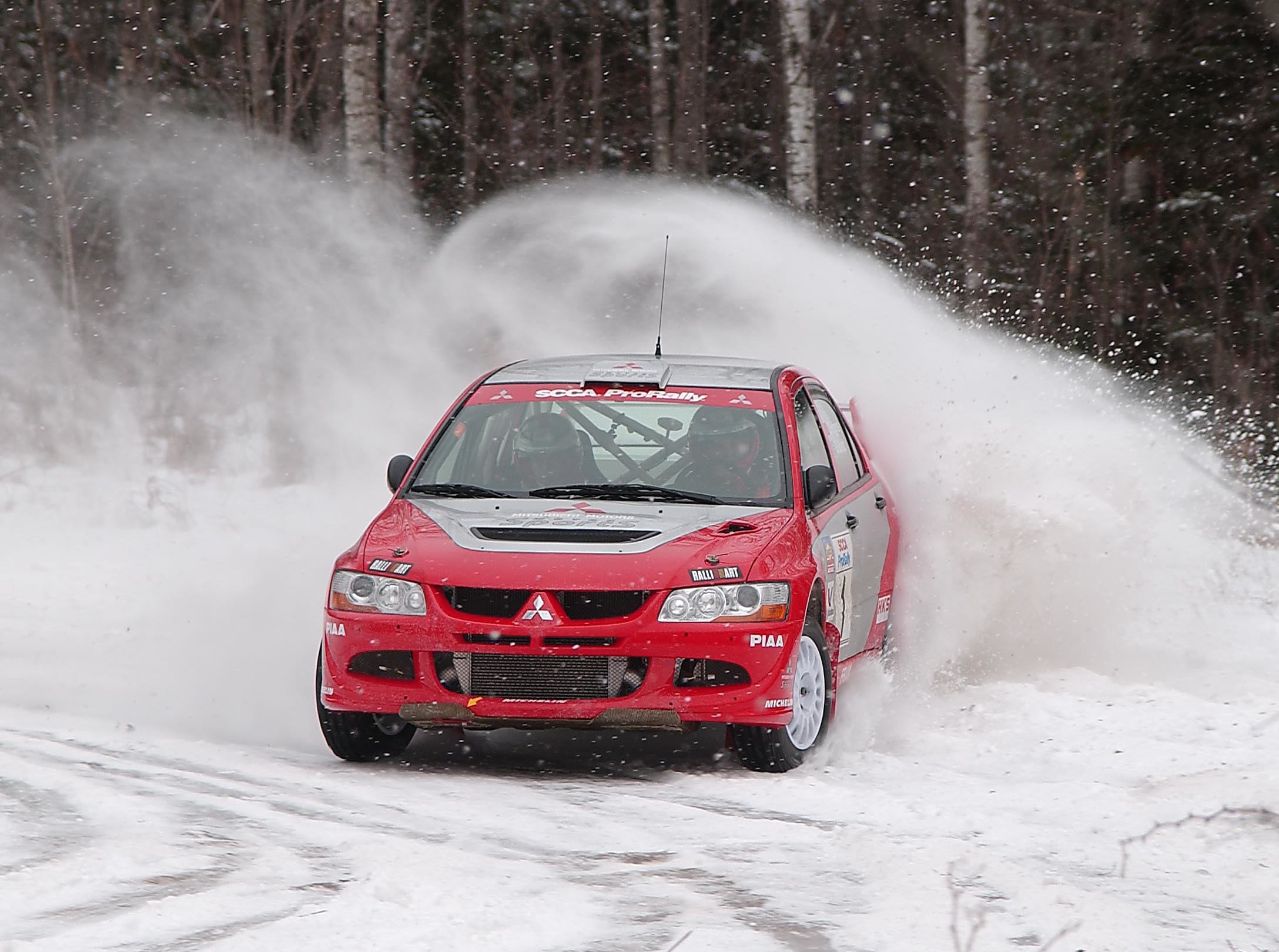 snow cars Mitsubishi rally HD Wallpaper