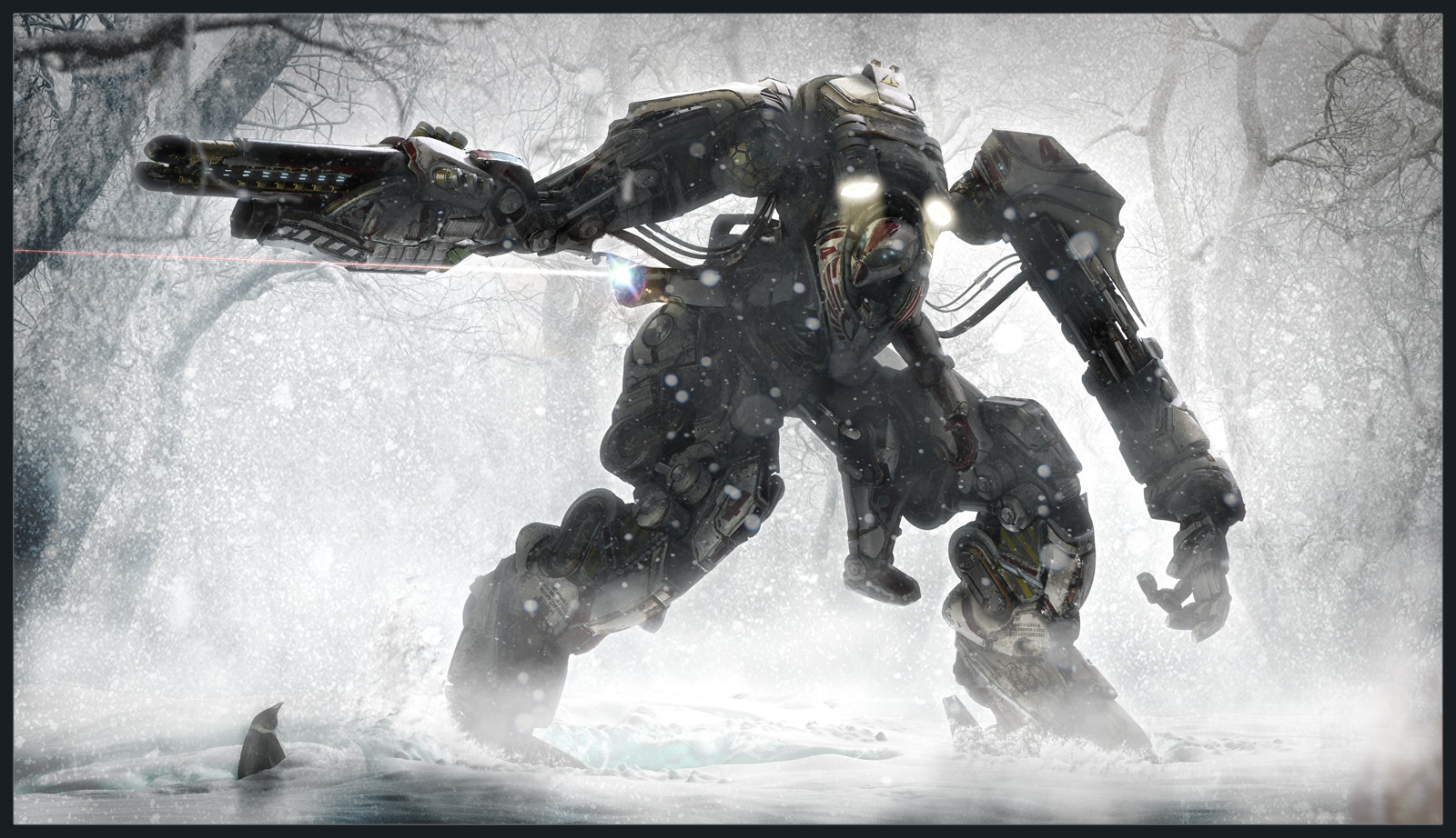 snow forests mecha Lasers HD Wallpaper