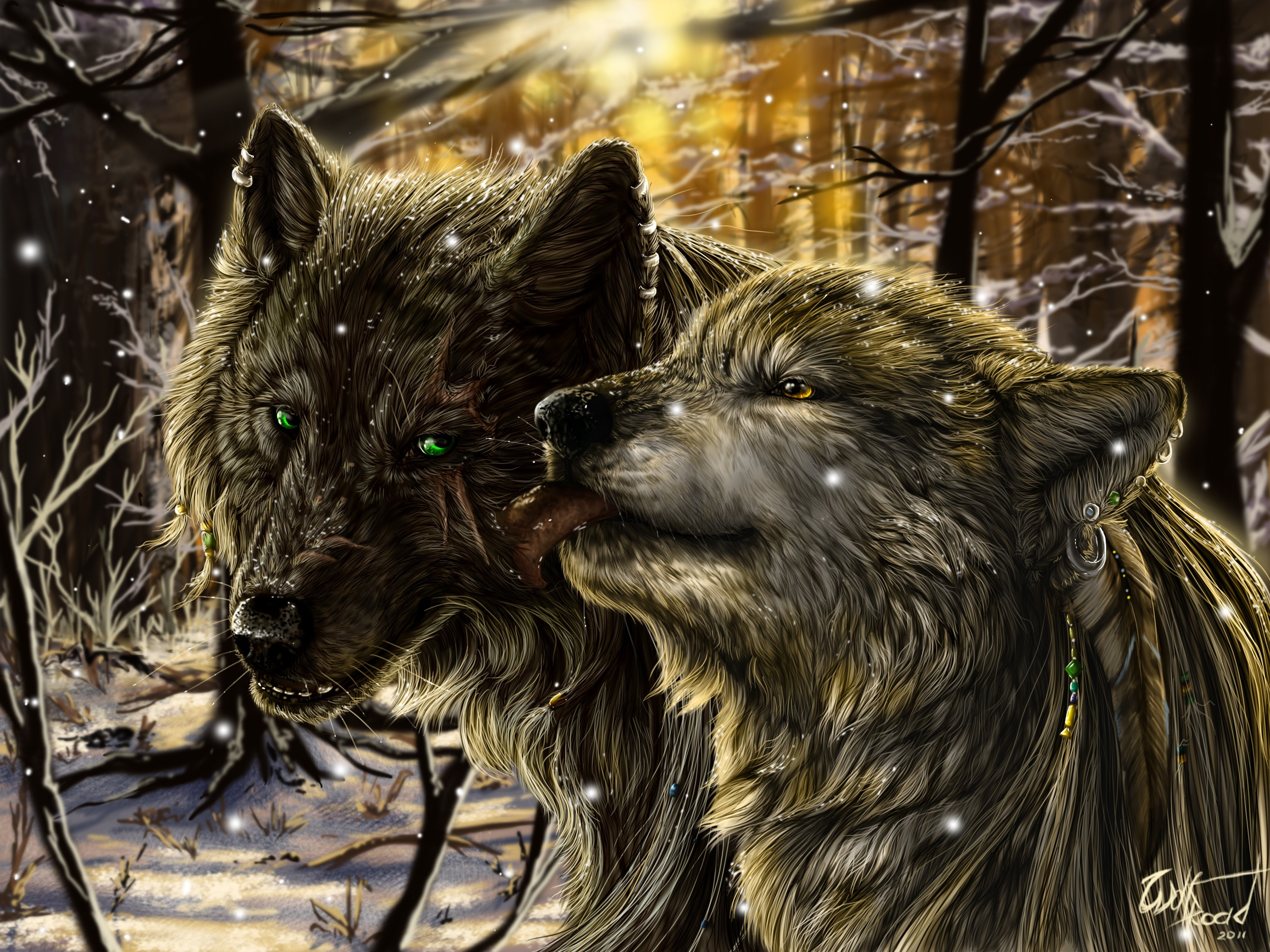 snow forests scars Wolves HD Wallpaper