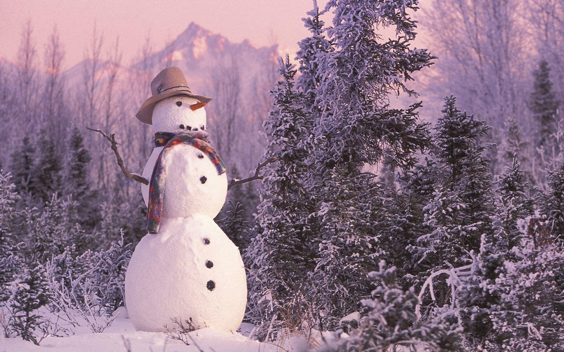 snowman mountain nature HD Wallpaper