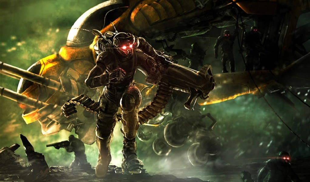 soldiers futuristic weapons spaceships HD Wallpaper