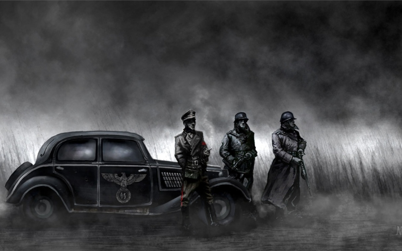 soldiers paintings Nazi grayscale