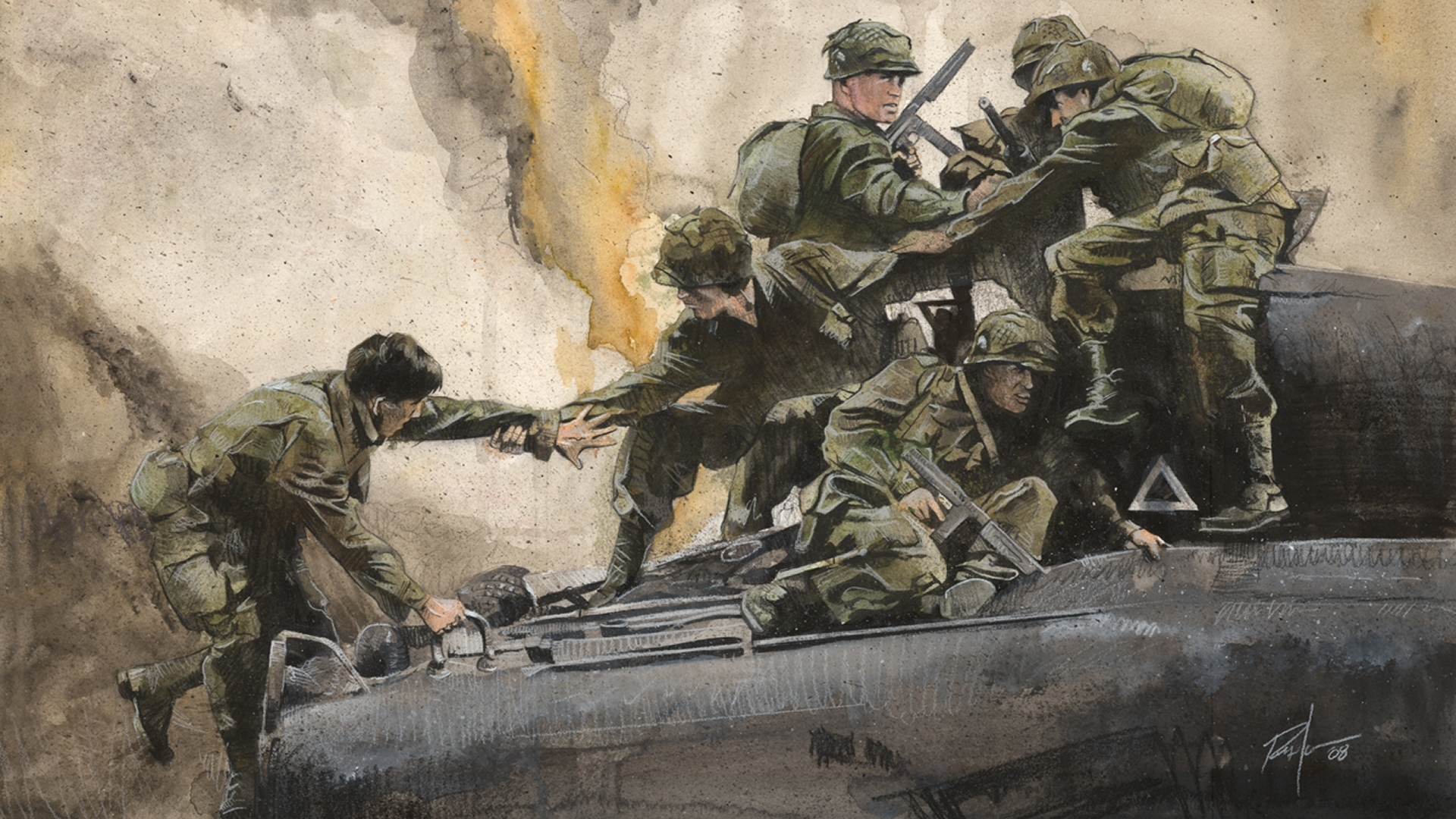 soldiers paintings War HD Wallpaper