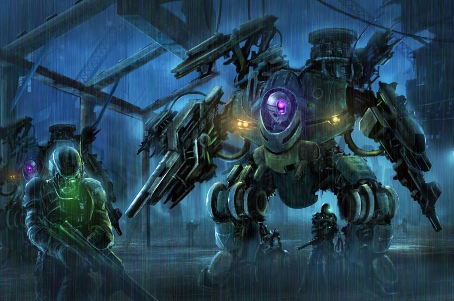 soldiers rain Robots futuristic HD Wallpaper
