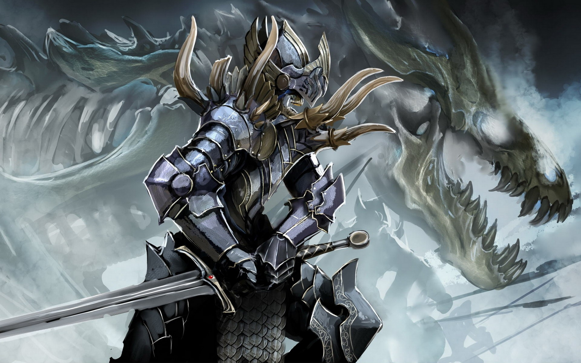 soldiers skulls Dragons weapons HD Wallpaper