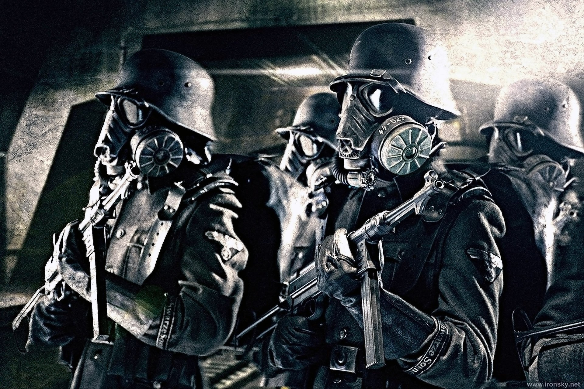 soldiers weapons gas masks HD Wallpaper