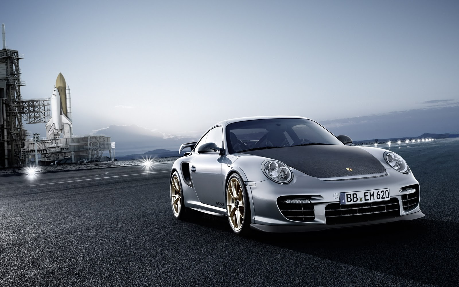 space shuttle Porsche 911 HD Wallpaper