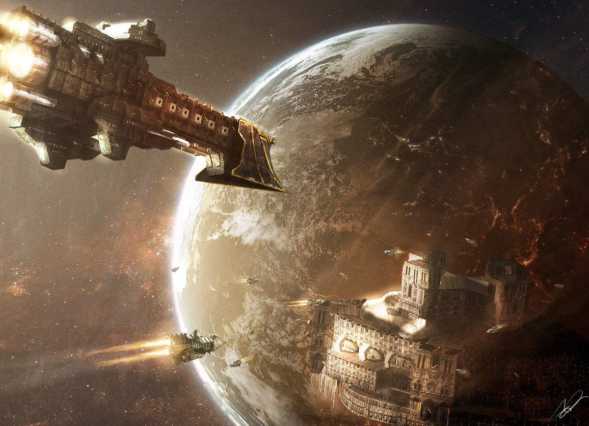 spaceships artwork vehicles warhammer HD Wallpaper