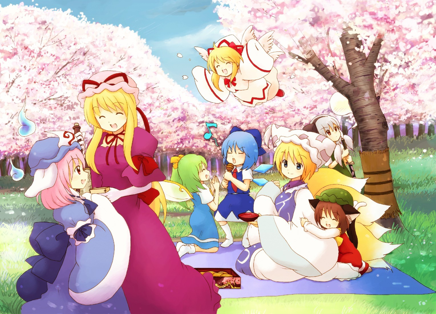spring kitsunemimi nekomimi Fairies HD Wallpaper