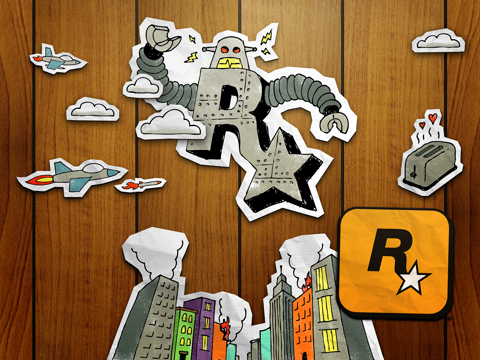 Stars Doodle rockstar games HD Wallpaper