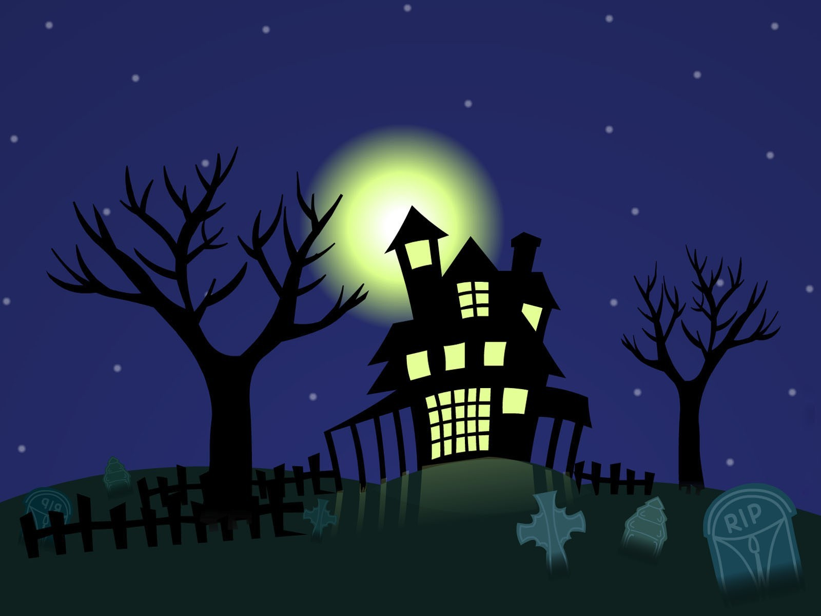 Stars moon cemetery Halloween HD Wallpaper