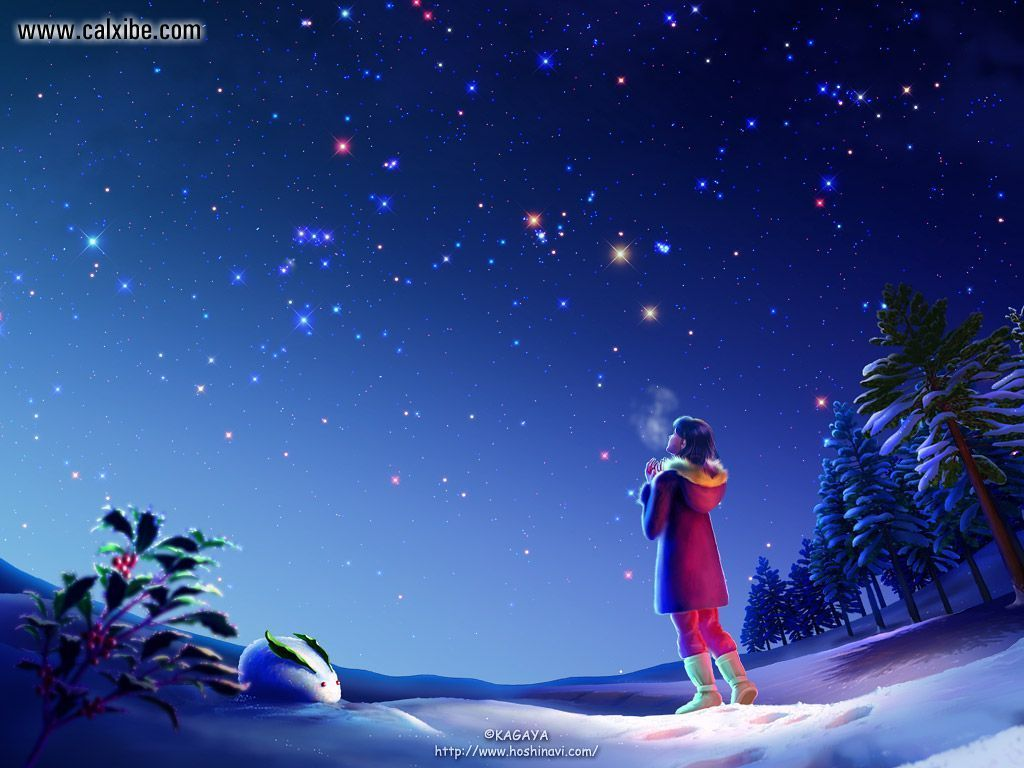 Stars over snow Anime HD Wallpaper