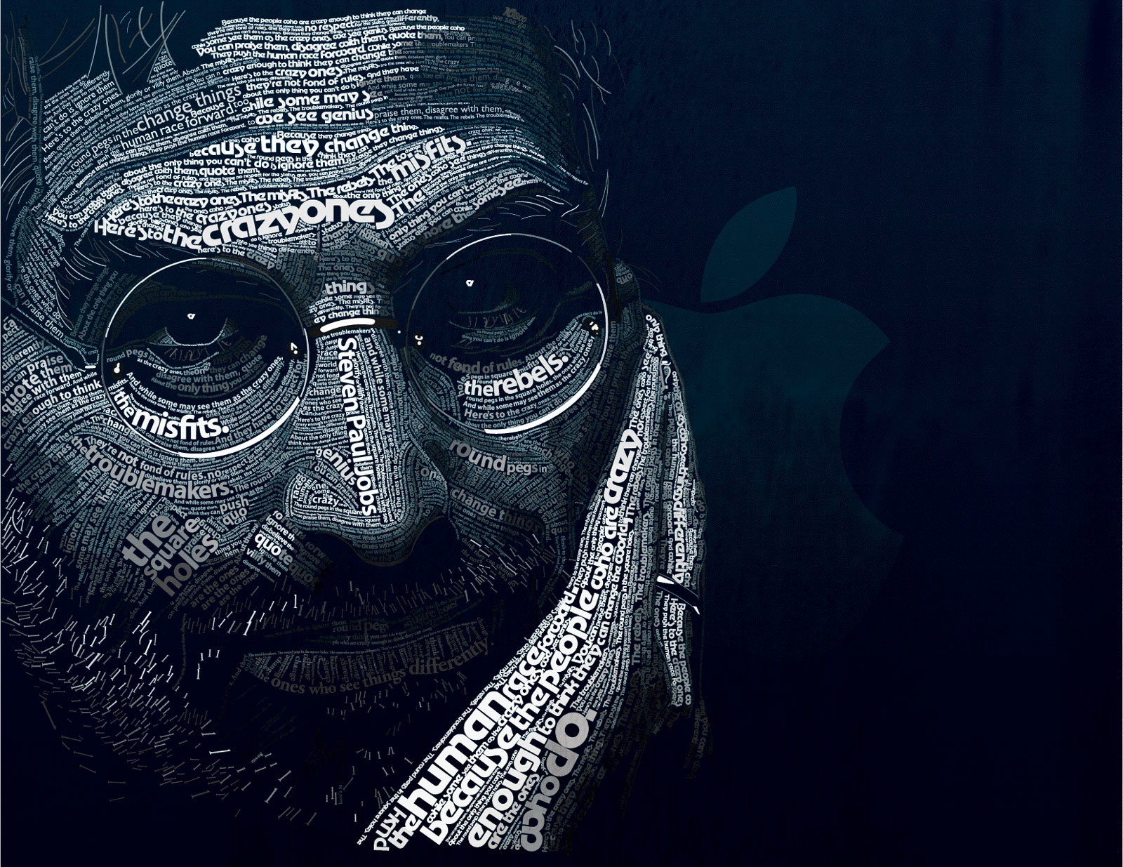 Steve Jobs typographic portrait