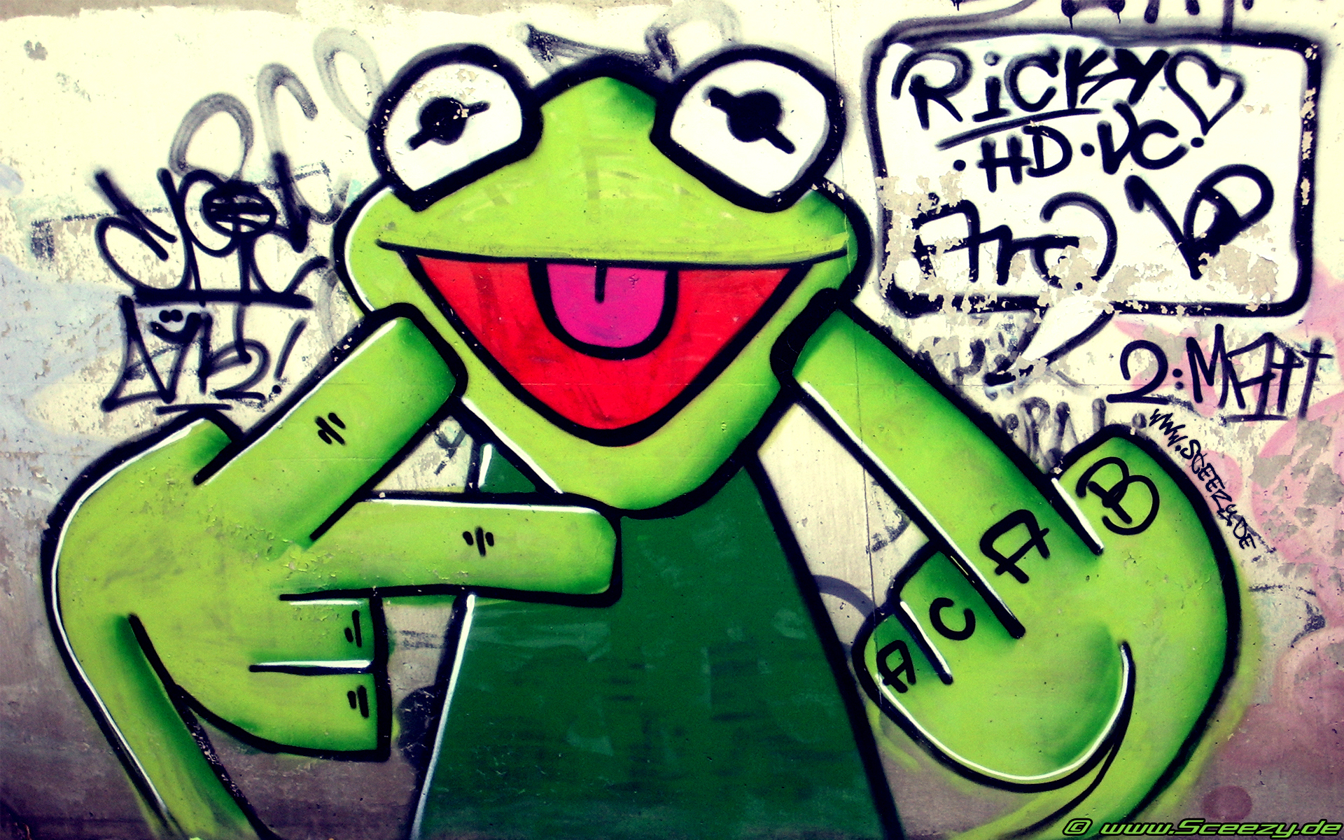 street art kermit the HD Wallpaper