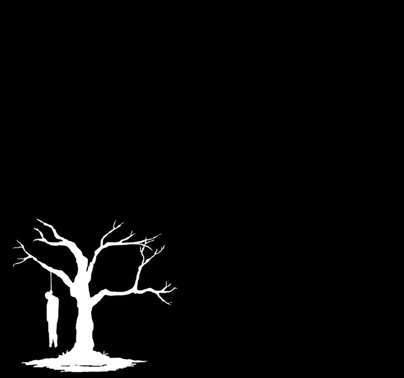 suicide tree black white