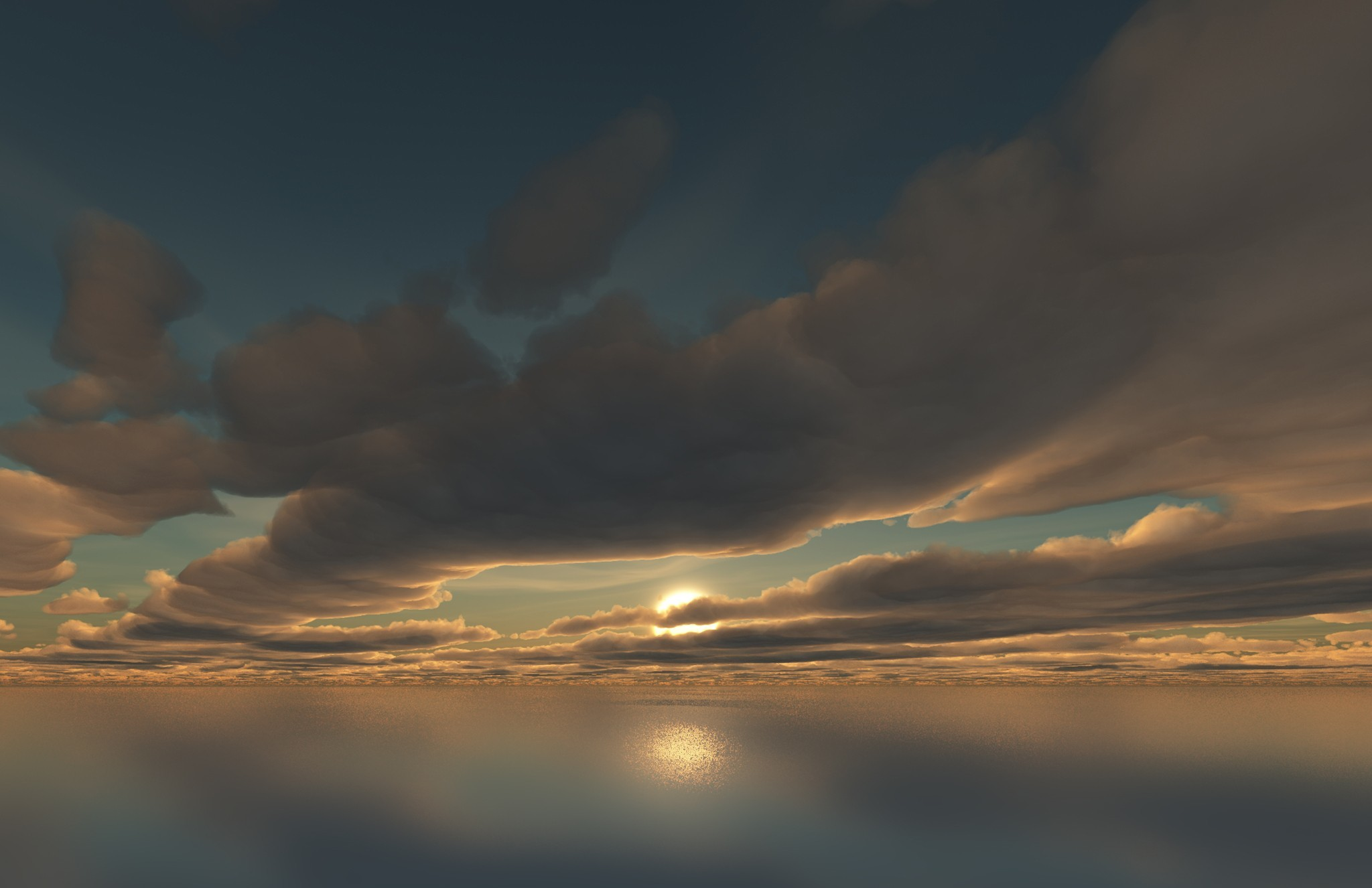 sun clouds horizon video games skyscapes