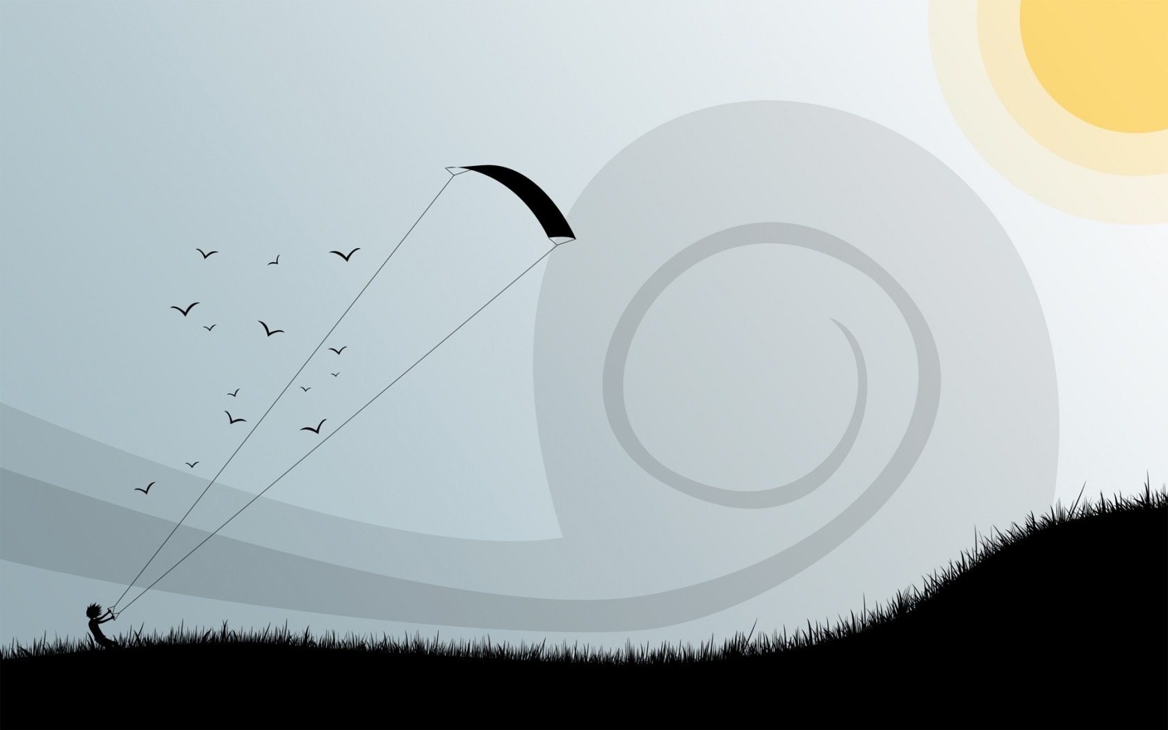 sun minimalistic Birds vectors HD Wallpaper