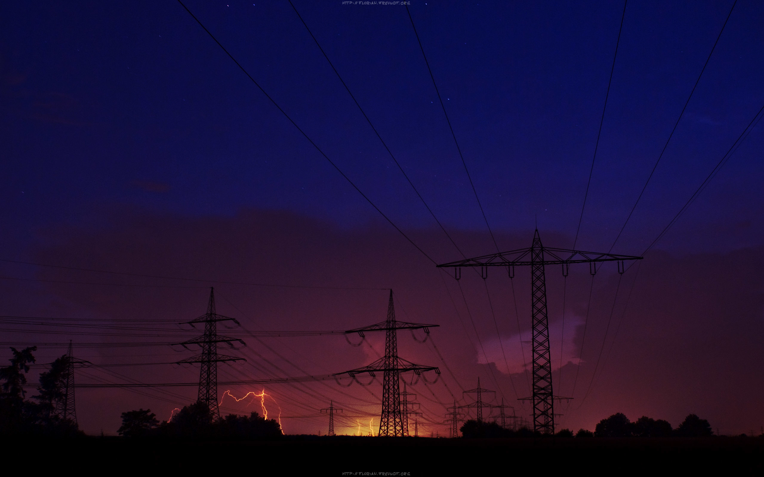 sunrise power lines HD Wallpaper