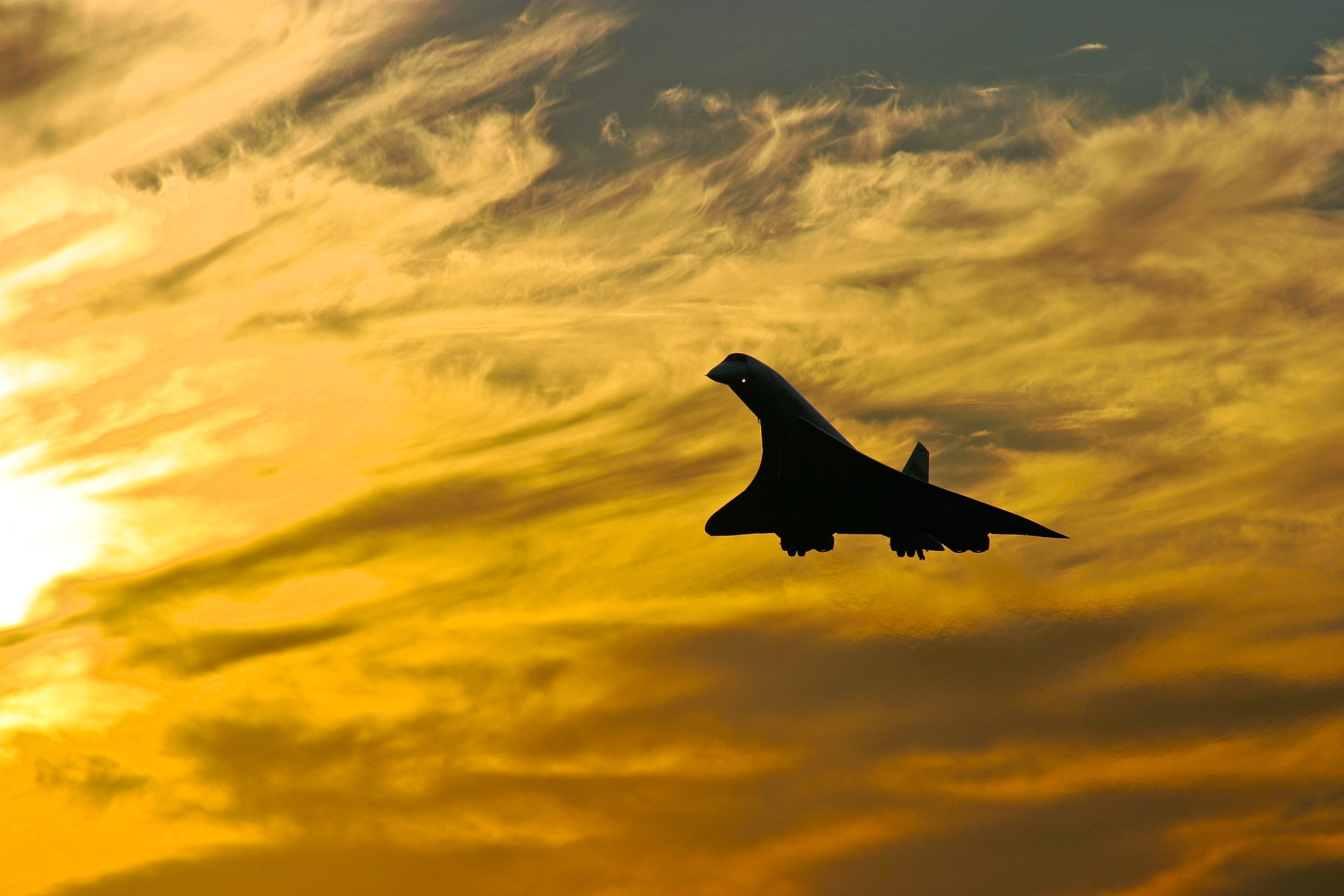sunset Aircraft silhouettes concorde HD Wallpaper