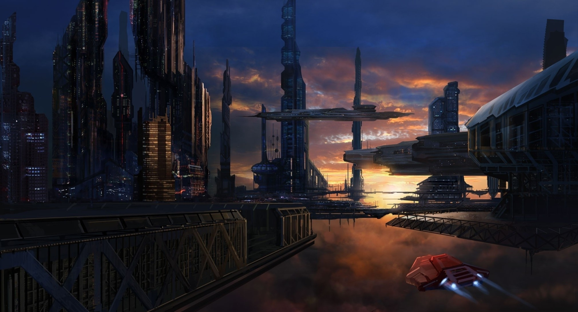 sunset cityscapes spaceships science HD Wallpaper