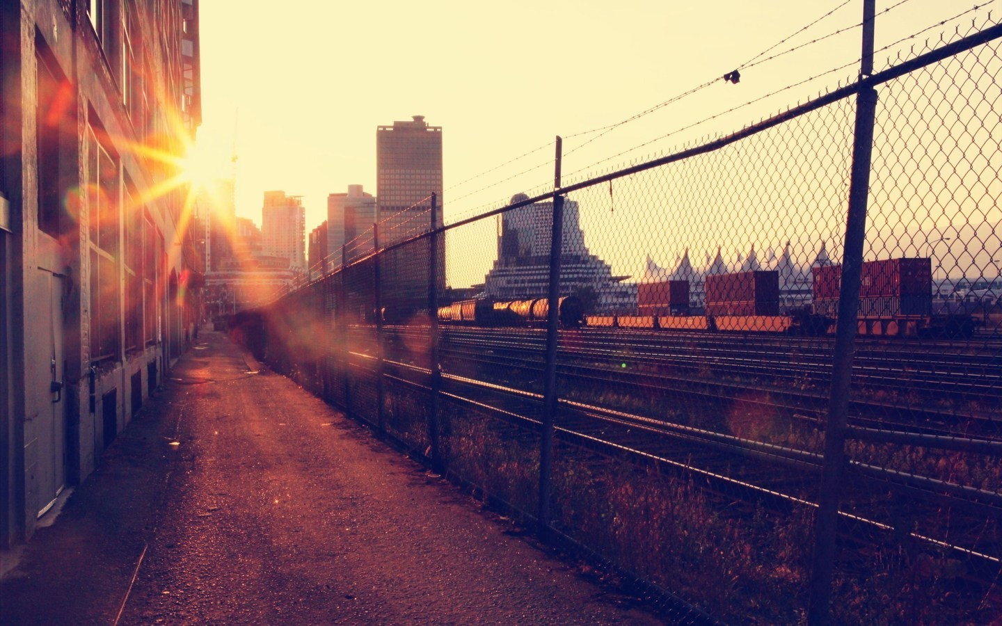 sunset cityscapes streets urban HD Wallpaper