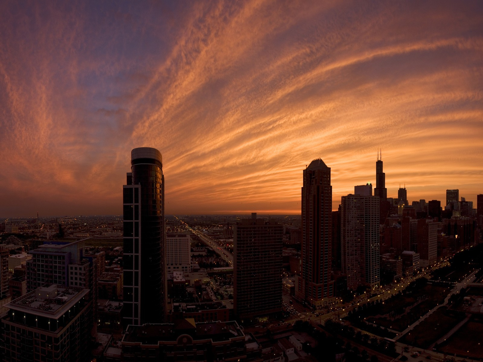 sunset clouds Skyscrapers buildings HD Wallpaper